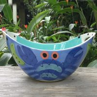 Susan Painter Pottery Tropical Oval Bowl with Handles