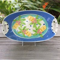 Susan Painter Pottery Oval Platter with Cut-out Handles
