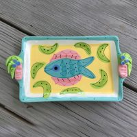 Susan Painter Tropical Pottery Rectangle Tray with Palm Tree Handles
