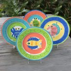 Susan Painter Tropical Pottery Hand Painted Dinner Plates